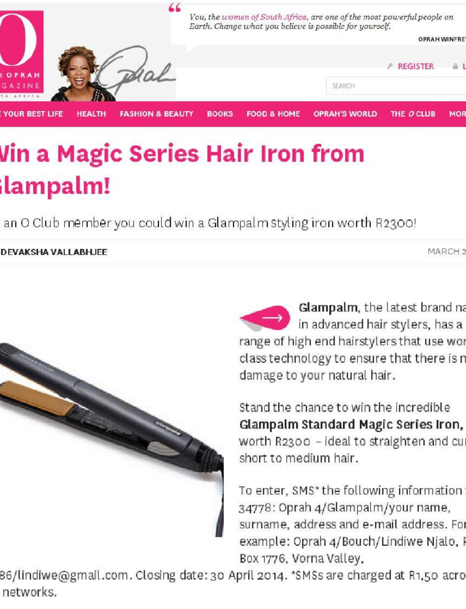 Oprah Online Competition 3 April – 3 May 2014